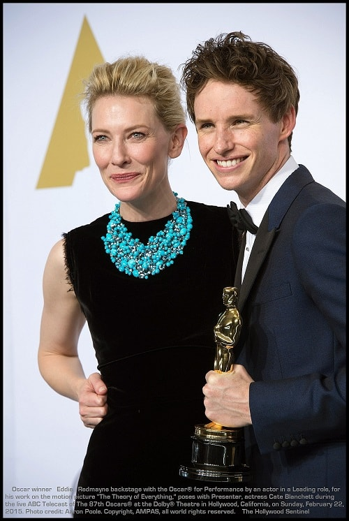 "Presenter, Cate Blanchett poses with Eddie Redmayne backstage with the Oscar® for Performance by an actor in a Leading role, for work on ""The Theory of Everything"" during the live ABC Telecast of The 87th Oscars® at the Dolby® Theatre in Hollywood, CA on Sunday, February 22, 2015."