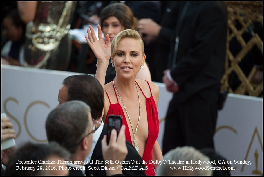Presenter Charlize Theron arrives at The 88th Oscars® at the Dolby® Theatre in Hollywood, CA on Sunday, February 28, 2016.