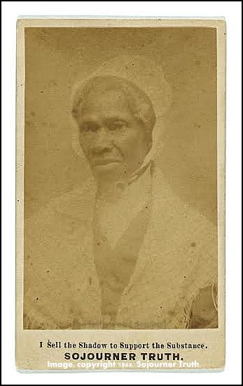 "Title: ""Sojourner Truth,"" Other Title, ""I sell the shadow to support the substance"" Summary: Photograph shows Sojourner Truth, head-and-shoulders portrait, facing slightly left. Created / Published c1864. Subject Headings - Truth, Sojourner,-- 1799-1883. Format Headings, Albumen prints--1860-1870. Cartes de visite-- 1860-1870. Portrait photographs--1860-1870. - Copyright 1864 by Sojourner Truth. - Purchase;--William A. Gladstone;--1995;--(PR 13 CN 1995:113)"