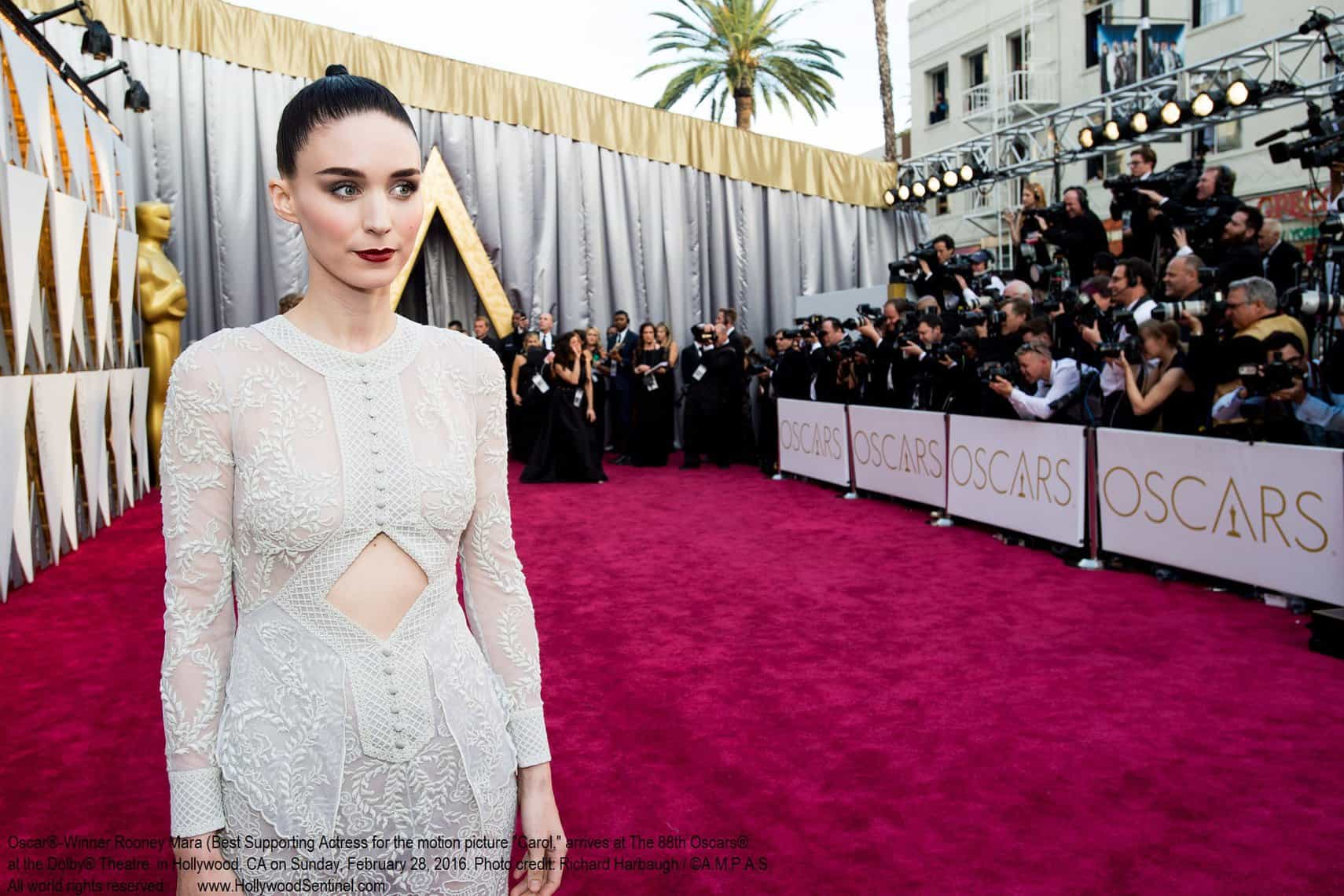 Oscar®-nominee, Rooney Mara, arrives at The 88th Oscars® at the Dolby® Theatre in Hollywood, CA on Sunday, February 28, 2016.