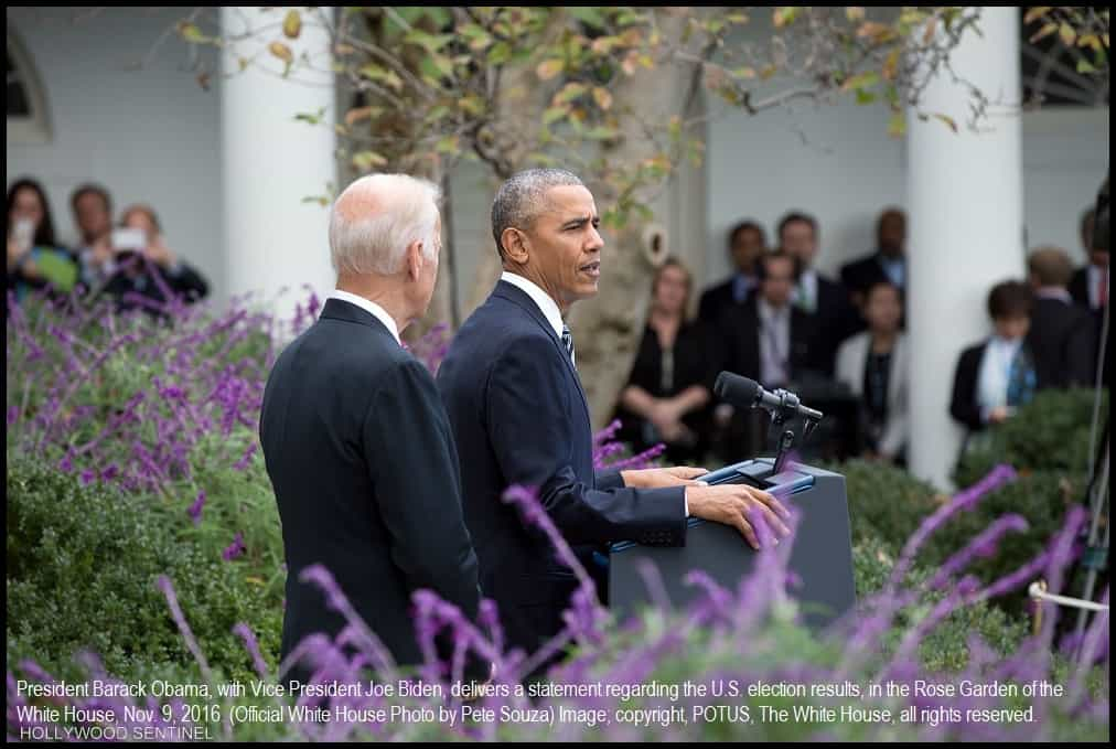President Barack Obama, with Vice President Joe Biden, delivers a statement regarding the U.S. election results, in the Rose Garden of the White House, Nov. 9, 2016. (Official White House Photo by Pete Souza)TheNTI